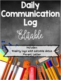 Daily Communication & Behavior Log *Editable*