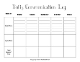 Daily Communication Log for Home to School