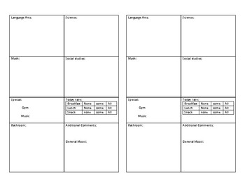Daily Communication Notebook template