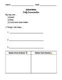 Daily Communication Sheet (School/Home)