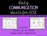 Daily Communication Sheets for ECSE (Editable)