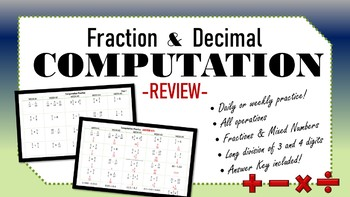 Daily Computation Practice with Fractions and Decimals - Full Year