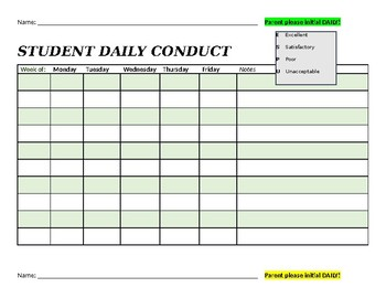 Daily Conduct Sheet - BLANK TEMPLATE