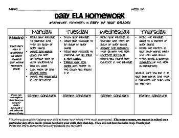 Daily Consistent Close Reading Homework (Editable)