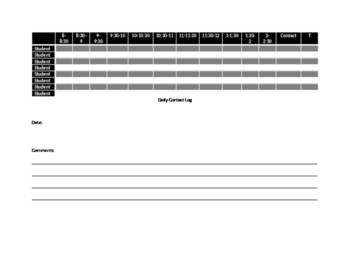 Daily Contact Log for a Resource Classroom