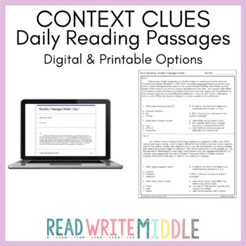 Daily Reading: Context Clues Bundle - Mystery Passages All 8 Weeks!