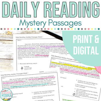 Daily Context Clues Mystery Passages With Inferencing and