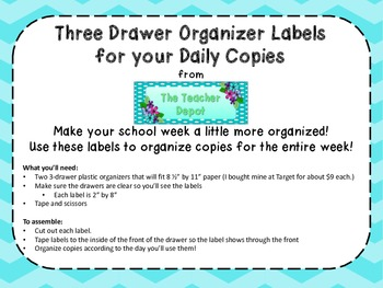 Daily Copy Labels for a 3-Drawer Organizer