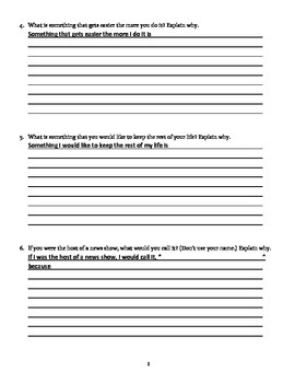 Daily Open-Ended Response Journal