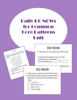 Daily DO NOWS Common Core Unit 1 - Patterns