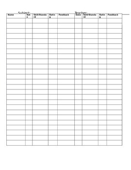 Daily Data Collection Sheet