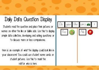 Daily Data Display - Questions and data collection (Use for learning walls)