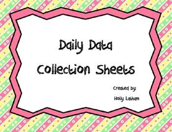 Daily Data Recording Sheets