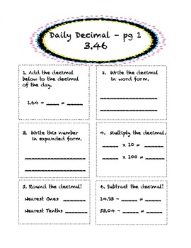 Daily Decimal! 5th Grade Common Core Aligned