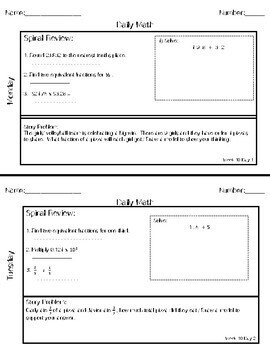 Daily Math Weeks 9-12: Adding Fractions with Whole Number and Decimal Review