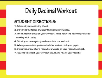 Daily Decimal Workout - Decimal Unit for CCSS 6.NS.4