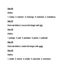Daily Dictionary Vocabulary Activities Bell Work Homework Homeschool Days 41-80