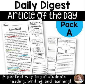 Daily Digest: Article of the Day for Grades 3/4- Pack A