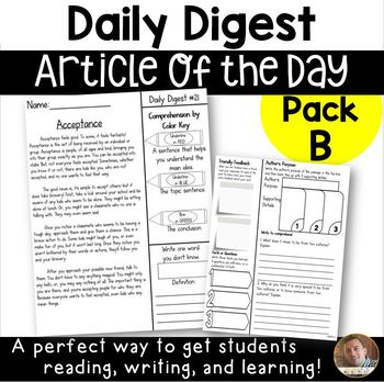 Daily Digest: Article of the Day for Grades 3/4- Pack B