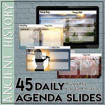 Daily Digital Agenda Slides Ancient History Theme Google Slides