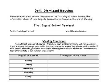 Daily Dismissal Routine Form