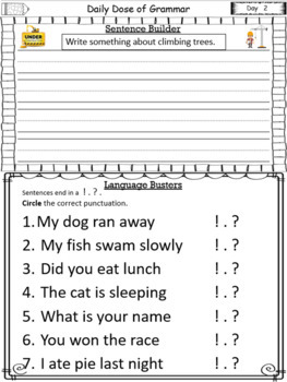 Daily Dose of Grammar 1st Grade Practice & Assessment Quarter 2 Bell Center