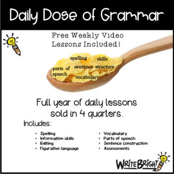 Daily Dose of Grammar 4th Grade Practice & Assessment Quarter 1 Bell Center