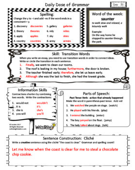 Daily Dose of Grammar 5th Grade Practice & Assessment Quarter 1 Bell Center