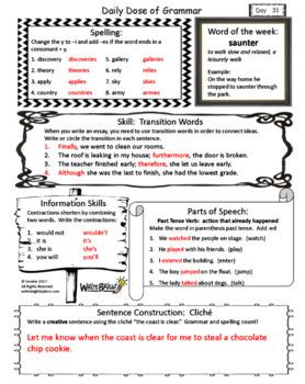 Daily Dose of Grammar 5th Grade Practice & Assessment Quarter 3 Bell Center