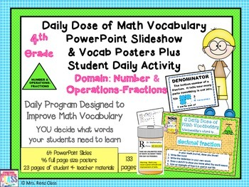 Math Word Wall Fractions Posters and PowerPoint Slides (4th Grade)