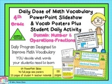 Math Word Wall Fractions Posters and PowerPoint Slides (4t