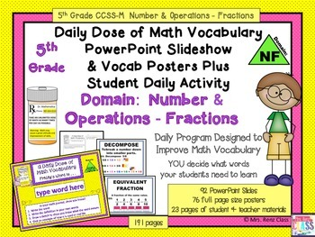 Fractions Word Wall Posters 5th Grade Plus PowerPoint Slideshow
