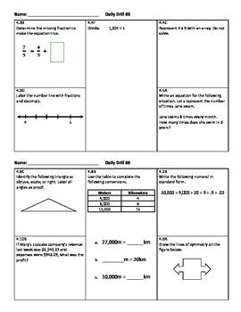 Daily Drill - 4th Grade Math