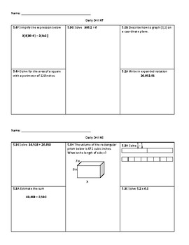 Daily Drill - 5th Grade Math (STAAR Review)