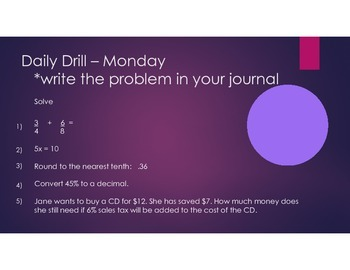 Daily Drill math warm up - 35 weeks worth!