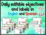 Daily EDITABLE objective template/ labels in English and Spanish -  Objetivos