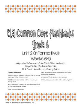 Daily ELA Common Core Flashbacks, Grade 6, Unit 2