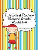 Daily Language Arts Spiral Review For Second Grade,  Weeks 1-4