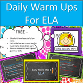 Daily ELA Warm-Ups / Spelling, Grammar, Sentence Structure, Vocabulary