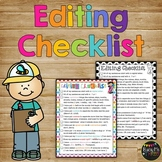 Editing Checklist for Writing, First Grade and Second Grade