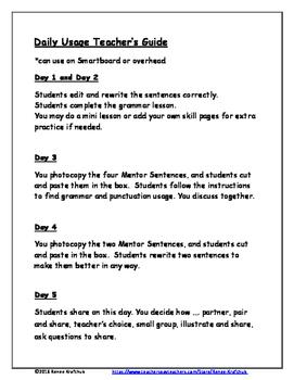 Daily Editing, Revising, and Mentor Sentences (O Canada) FREEBIE