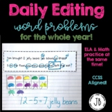 Daily Editing Word Problems for the Entire Year  {Common Core}