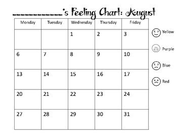 Daily Emotions Chart Calendar