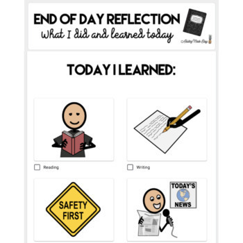 Daily End Of Day Notebook with Visuals High School Transition Special Education