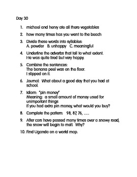 Daily Everything! 21-40 Morning Work Practice Language Math Idioms Science