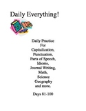 Daily Everything! 81-100 Morning Work Practice Language Math Idioms Science