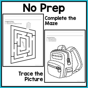 Back to School Fine Motor Worksheets for Special Education and Autism