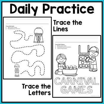 Fine Motor Activities: Daily Pre-writing & Tracing Practice - Carnival & Camping
