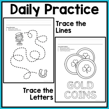 St. Patrick's Day Fine Motor Worksheets for Special Education and Autism