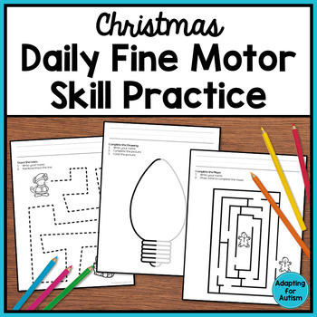 Christmas Fine Motor Activities: Daily Pre-writing & Traci